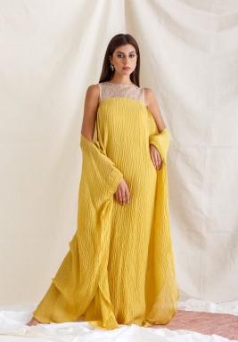 Mustard Glitter Sleeve Kaftan