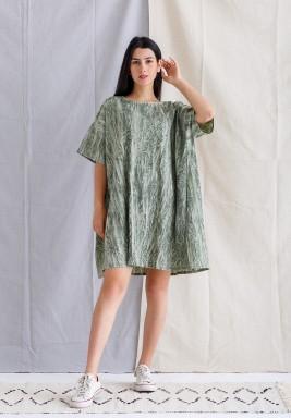 فستان أخضر مطبوع قصير