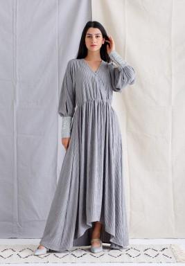 Gray Open Sleeve Kaftan