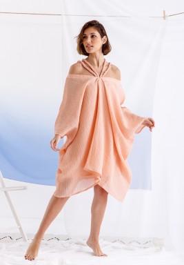 فستان خوخي قصير مضفر