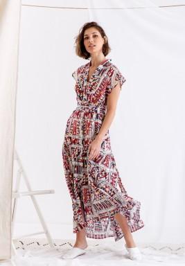 فستان ملون مطبوع متوسط الطول