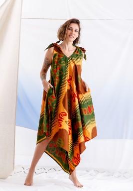 فستان ملون مطبوع متباين الطول