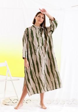 فستان بيج وأخضر مطبوع