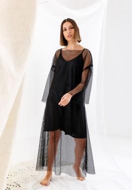 فستان أسود شبكي ماكسي