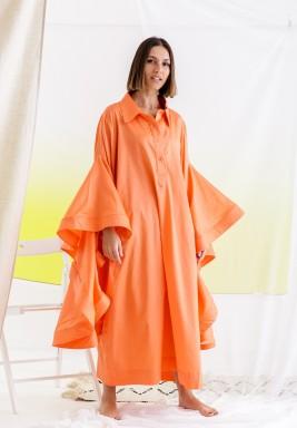 فستان برتقالي بأكمام طويلة برفرفات