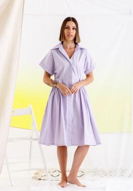 فستان بنفسجي بكسرات بنمط قميص