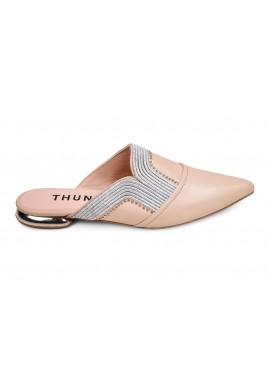 حذاء ثريا الجلد لون نود