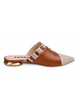 حذاء جمان الجلد بالبني والبيج