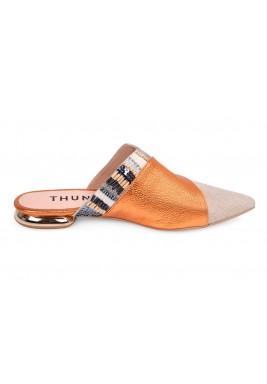 حذاء جمان الجلد بالبرتقالي والبيج