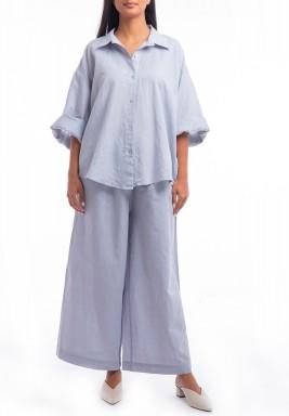 طقم أزرق قميص وبنطال واسع