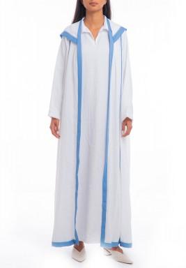غطاء أبيض وأزرق بقبعة وأكمام طويلة