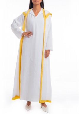 غطاء أبيض وأصفر بقبعة وأكمام طويلة