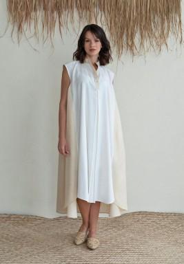 فستان توسكان صن أبيض وبيج