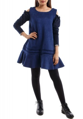فستان أزرق قصير برفرفات