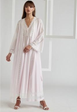 Voile Light Pink  Cotton Robe Set