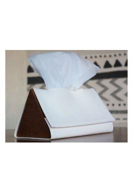 صندوق محارم ورقية أبيض مثلث