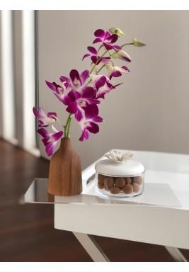 طقم مزهرية خشبية وإناء شوكولاتة