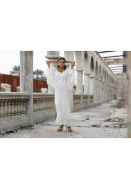 Greece White Wrap Linen Kaftan