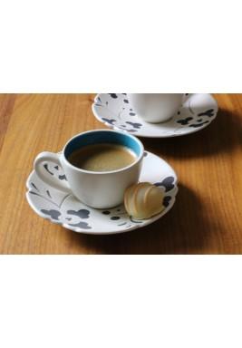 طقم فناجين قهوة تركي أزرق وأبيض من 6 قطع