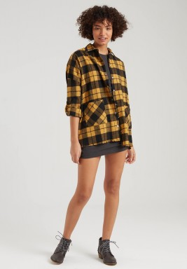 YELLOW CHECK FRINGE SHIRT