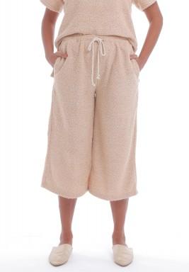 بنطال وردي نسيج منشفة بأرجل واسعة