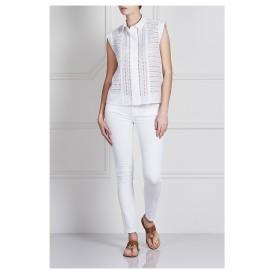 بنطال جينز سكيني متوسط الارتفاع عند الخصر - أبيض